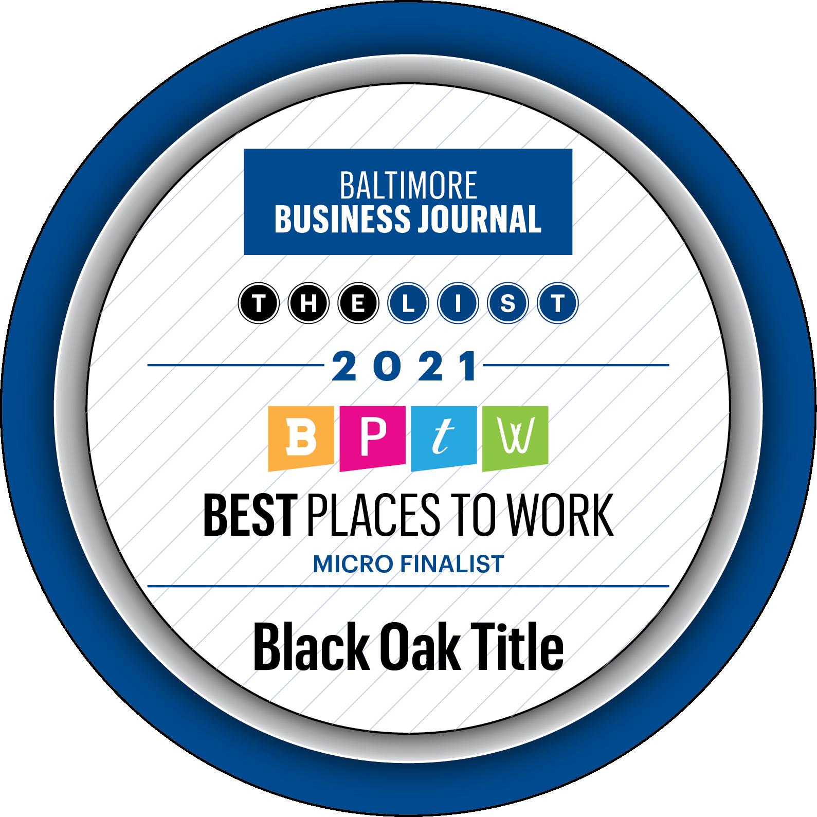 Baltimore Business Journal Microfinalist badge